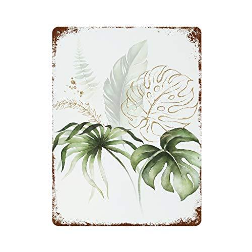 Placa de metal para pared, diseo de hoja de pltano, personalizable, de hierro, 30 x 40 cm, color blanco