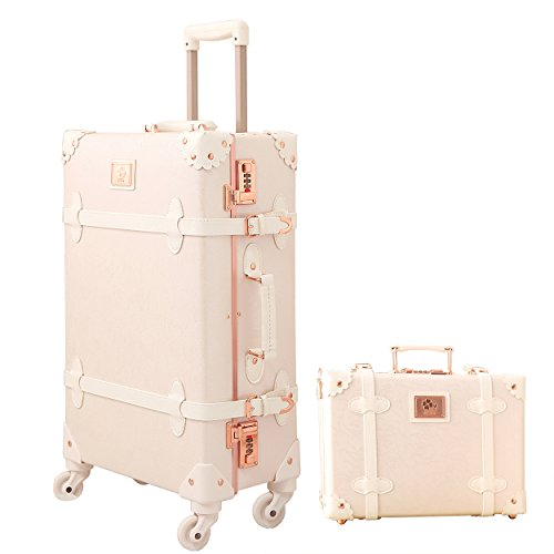 Travel Vintage Luggage Sets Cute Trolley Suitcases Set Lightweight Trunk Retro Style for Women Rose White 20'