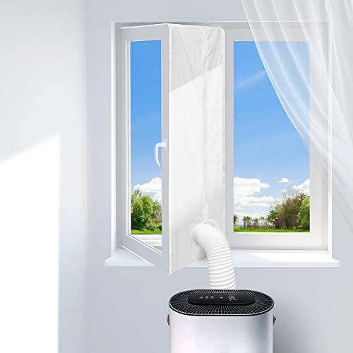 Dr.meter Fensterabdichtung für Mobile Klimageräte und Abluft-Wäschetrockner, Hot Air Stop mit Reißverschluss zum Anbringen an Fenster, Dachfenster, Fensterabdichtung Klimaanlage, Umlaufmaß bis 400cm