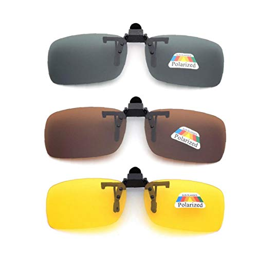 NaisiCore Frame-Menos 3 PCS Unisex UV400 Lente polarizada rectángulo Lente tirón Encima del Clip en Gafas de Sol de la prescripción de anteojos de visión Nocturna de los vidrios