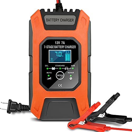LiDiVi Automotive Battery Charger 12V/7A Car Battery Charger with LCD Display Portable Battery Charger Maintainer Pulse Repair Charger Pack for Car Lawn Mower Motorcycle Boat SUV and More