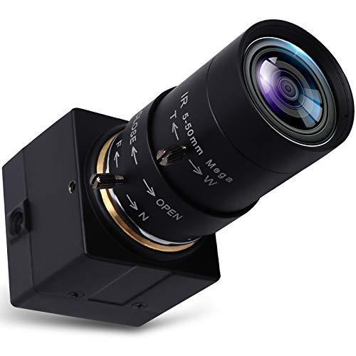 SVPRO Zoom Focus USB Camera 5-50mm Varifocal Lens, 5MP HD USB Webcam 10X Optical Zoom, Mini Camera 1944P with Aptina MI5100 Sensor, Desktop USB with Camera for Online Class