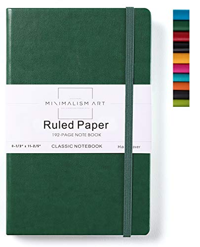Minimalism Art, Classic Notebook Journal, A4 Size 8.3 X 11.4 inches, Green, Ruled Lined Page, 192 Pages, Hard Cover, Fine PU Leather, Inner Pocket, Quality Paper-100gsm, Designed in San Francisco