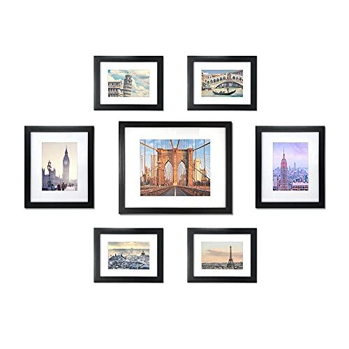 Isaac Jacobs - Juego de marcos de 7 piezas con alfombrilla, colección de marcos de fotos para montar en la pared, (uno de 28 x 35 cm, dos de 20 x 20 cm, cuatro de 10 x 20 cm), hecho para galería, espacio de pared, decoración de pared, arte, hogar u oficina (negro)