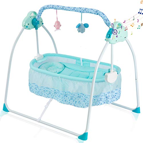 Baby Cradles Electric Bassinets for Baby Soothing Baby Portable Folding Rocking Bassinets with 3-speeds Swings Breathable Net and Headrest Bedside Crib with Music Box Bedside Sleeper for Baby(Blue)