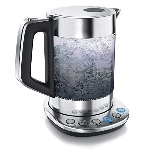 Arendo - Rauchglas Glas Wasserkocher mit Temperatureinstellung - Edelstahl - Warmhaltefunktion 30min - 1,5 Liter Füllmenge - Borosilikatglas - Basisstation aus Edelstahl - Modernes Design