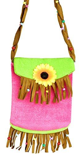 Hippie Täschchen Handtasche mit Fransen - Tolles Accessoire zu Kostümen der 70er 80er Jahre oder Mottoparty