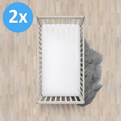Melunda Baby 2er Set Spannbettlaken 100% Baumwolle - Weiß - 60x120cm / 70x140cm - Jersey Spannbetttuch Doppelpack für Kinderbett - Oeko-Tex® Standard 100