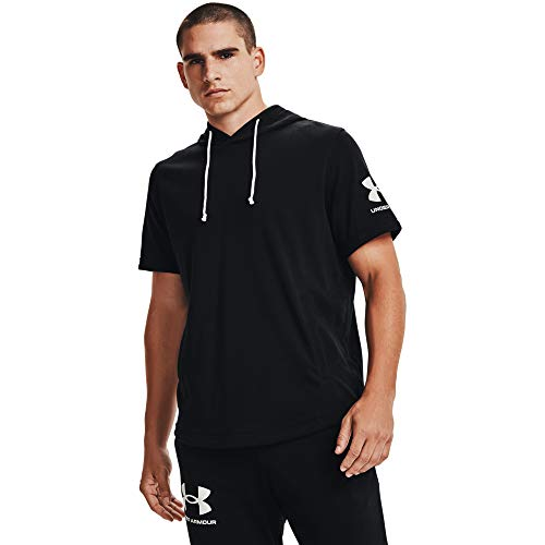 Under Armour Men's Rival Terry Short-Sleeve Hoodie , Black (001)/Onyx White , 3X-Large