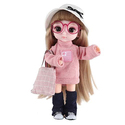 ETDWA 6.2 Pulgadas Muñecas de simulación Moda Princesa Muñeca Niña Vestir Ragdoll Juguete Juguetes para niños Casa de Juegos Juego de muñecas Día de los niños Regalos de cumpleaños 13 articulacion