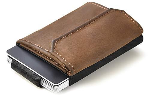 JAIMIE JACOBS Minimalist Wallet Nano Boy Pocket Mini Geldbörse aus Textil mit Zugband schmaler Kartenhalter für Herren und Damen (Büffelleder Braun)