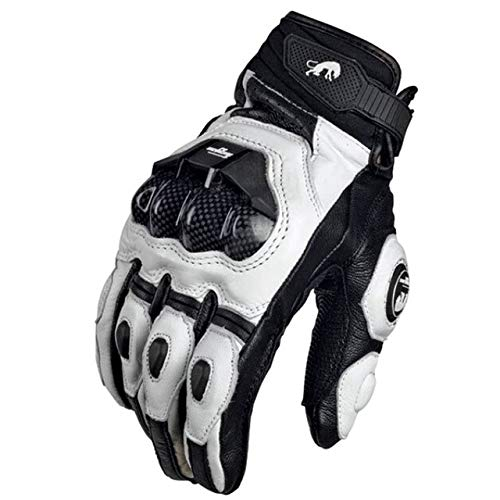 IMmps Motorrad Schwarze Handschuhe Racing Lederhandschuhe Motorrad weiße Straßenrennen Team Handschuhe Herren Sommer Winter-T1819Leder weiß-L