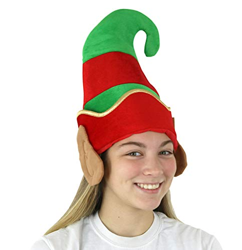 Iconikal Plush Elf Hat with Sown-in Ears That Cover Your Ears, 4-Pack