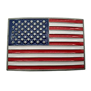 Buckle List USA Country American National Flag Belt Buckle Red