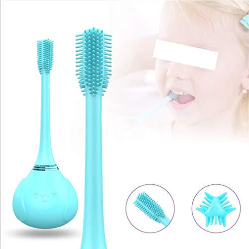 HRRH Kinder elektrische Zahnbürste DREI Silikon-Zahnbürstenkopf seitig wiederaufladbar für Kinder Zahnpflege