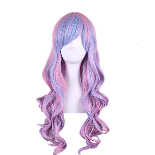 Perruque Dame Mignonne, Frisé Mélanger Rose Violet Cheveux Couleur Naturelle Rôle Quotidien Robe De Soirée
