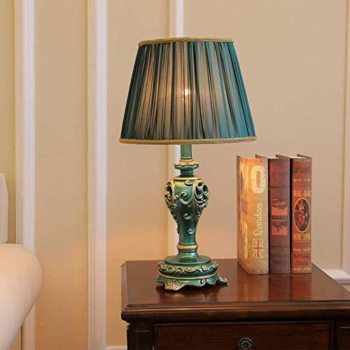 European Pastoral Light Luxury Study - Lámpara de mesa (pintada a mano, retro, tela de resina, respetuosa con el medio ambiente, tallada a mano), color verde