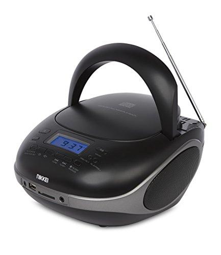 Nikkei NPRC56BK - Radio Numérique Portable Bluetooth Boombox avec Lecteur CD - Connexion USB et Casque - Piles et Source de Courant - Écran LCD - Compact - Noir