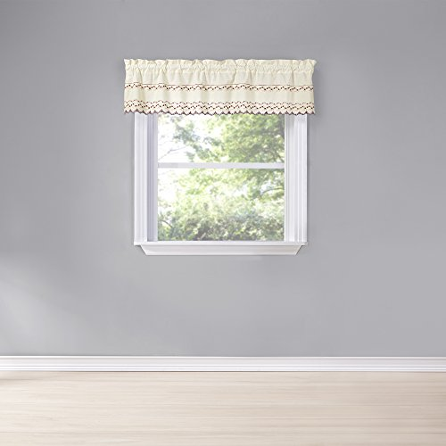 """Renaissance Home Fashion Beverly Valance with Embroidered Band, 58"""" x 12"""", Multi"""
