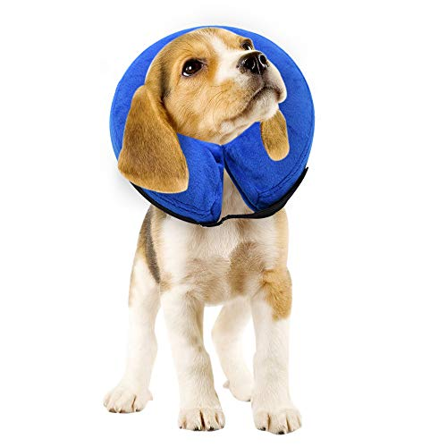 """E-KOMG Dog Cone After Surgery, Protective Inflatable Collar, Blow Up Dog Collar, Pet Recovery Collar for Dogs and Cats Soft (Medium(8""""-12""""), Blue)"""