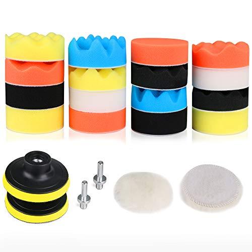 RilexAwhile Car Foam Drill Polishing Pad Kit 3 Inch/80mm Foam Drill Buffing Sponge Pads Kit for Car Sanding, Polishing, Waxing,Sealing Glaze,22 Pack