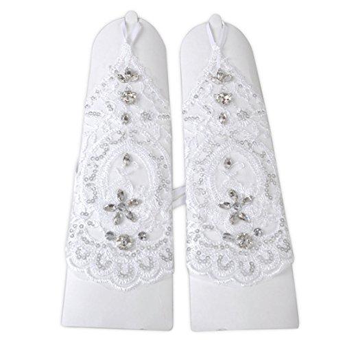 Unbekannt Brauthandschuhe fingerlos Braut Handschuhe Strass Steinchen Hochzeit Weiß Ivory (Ivory) - 4