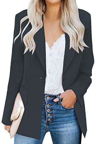 Unifizz Womens Casual Work Office Blazer Pockets Buttons Suit Jacket 3/4 Sleeve (X-Large, Black)