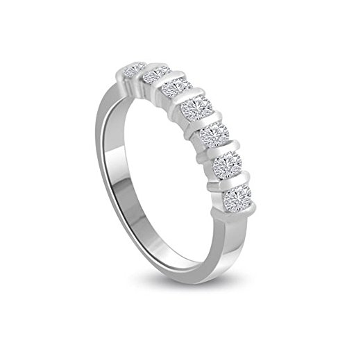 1.26ct H/SI1 Diamante Half Eternity Anello da Donna con Rotonda Brillante diamanti in 18kt Oro bianco