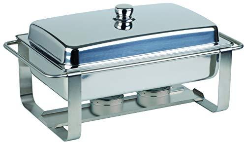 """APS Chafing Dish """"Caterer Pro"""" - Premium Speisenwärmer, mit einem Speisenbehälter aus Edelstahl, einem Wasserbecken, 2 Brennpastenbehälter und einem Deckel"""