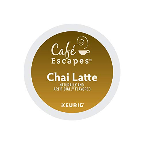 Cafe Escapes, Chai Latte Tea Beverage, Single-Serve Keurig K-Cup Pods, 96 Count (4 Boxes of 24 Pods)