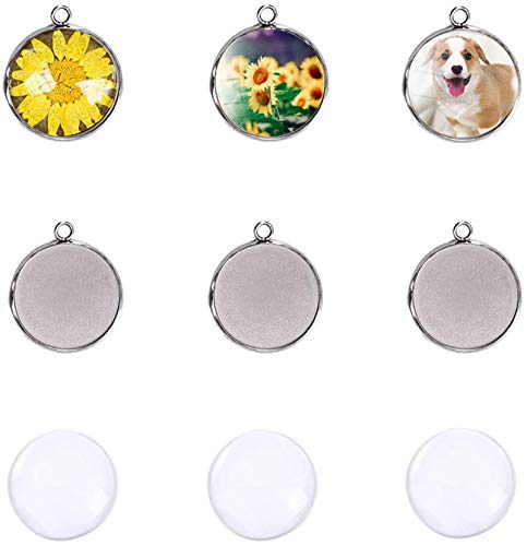 LANBEIDE Silver Pendant Trays for Jewelry Making Kits, 40 Pieces Stainless Steel Round Bezel with 40 Pcs Clear Cabochon Dome 25mm / 1 Inch Diameter ( Total 80 Pcs)