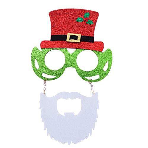 Mooderff Creatieve kerstbrilmontuur, pailletten, hoed, brilmontageset, kerstmis, accessoires, party brilmontuur voor kinderen, mannen en vrouwen
