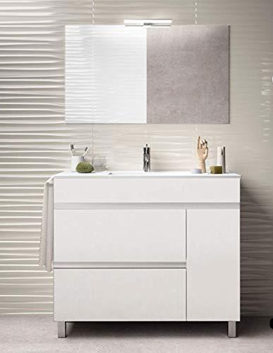PDM Mueble DE BAÑO DE DISEÑO con Lavabo Y Espejo Blanco 100CM