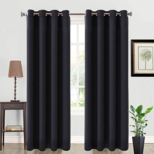 Balichun 2 Panels Blackout Curtains Thermal Insulated Solid Grommets Drapes Curtain for Bedroom/Living Room (Black, W52 x L63)