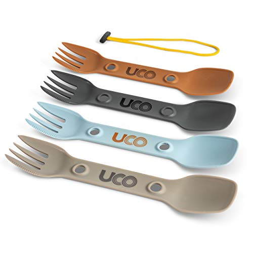 UCO Utility Spork 3-in-1 Combo Spoon-Fork-Knife Camping Utensil, 4-Pack, venture