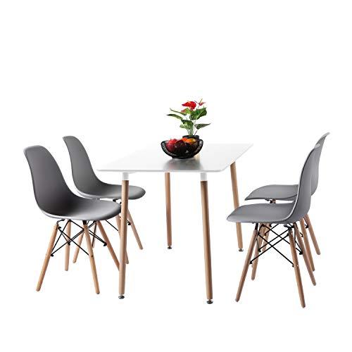 H.J WeDoo Nordisch Esszimmergruppe Esstisch mit 4 Stühlen Geeignet für Esszimmer Küche Wohnzimmer