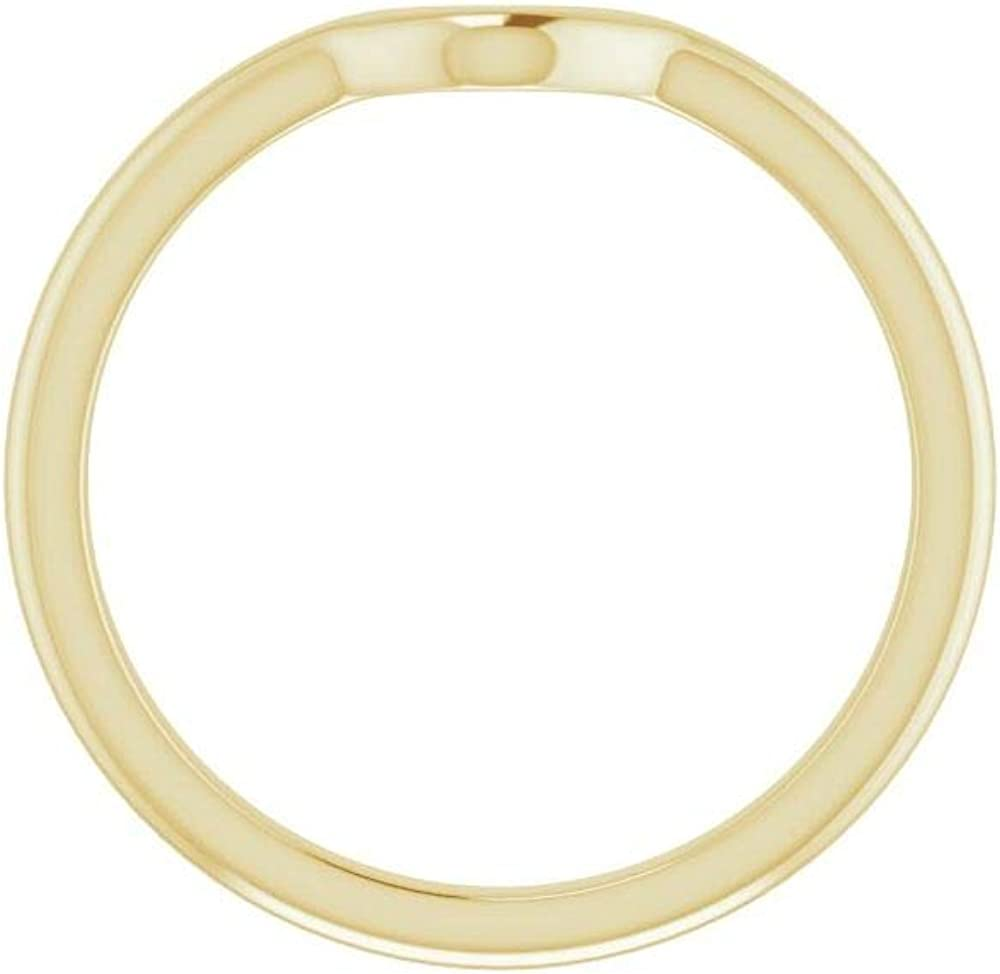 Solid 18K Yellow Gold Curved Notched Wedding Band for 9 x 6mm Pear Ring Guard Enhancer - Size 7