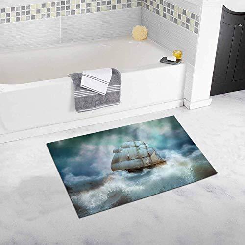 Kanaite Kühle Segeln Piratenschiff im Gewitter Wohnkultur rutschfeste Bad Teppich Set Saugfähigen Fußmatten für Badezimmer Badewanne Schlafzimmer