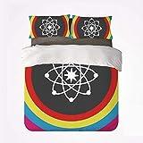 Juego de Funda nórdica Science Decor Warm 3 Juegos de Cama, Modelo átomo con círculos Coloridos, molécula, química, biología, física, Laboratorio, órbita para habitación