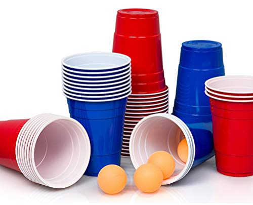 Lucky Humans® [50+5 Premium Beer Pong Becher, Bierpong Becher Set | 25 rote+ 25 Blaue Becher +5 gelborangene Bälle Inklusive E-Book Bierpong Regeln 530 ml Partybecher Red Cups