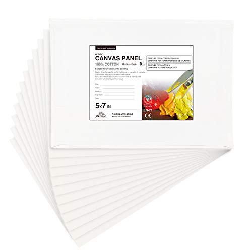 PHOENIX Artist Painting Canvas Panels - 5x7 Inch / 12 Pack - Triple Primed Cotton Canvas Boards for Oil & Acrylic Paint