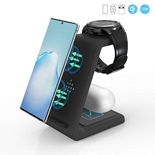 Induktionsladegerät, ZHIKE 3 in 1 10W Qi-zertifiziertes Schnellladung, kompatibel mit iPhone 11-Serie, Huawei, Samsung S10 / S10 +, Airpods, Galaxy-Uhren und Knospen (nicht für Apple Watch)
