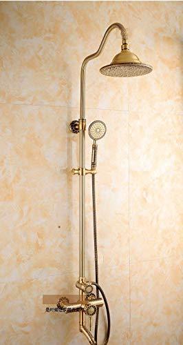Wtbew-u Duschsäule Dusche Kupfer Antik Duschmischer Set Europäische Retro Dusche Heißes und kaltes Wasser-Hahn-Kupfer-Düse Badewanne Dusche-Mischer-Hahn Regendusche Systemmischer