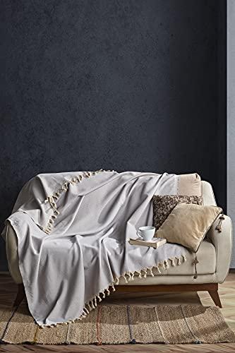 BOHORIA® Tagesdecke Nomade extra groß 165 x 220cm | 100prozent Baumwolle | Oeko-Tex® | Überwurf für Sofa, Sessel und Bett | Sofadecke Wolldecke Wohndecke (Cloud)