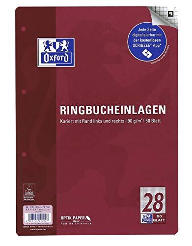 Oxford 400131584 Ringbucheinlagen A4 50 Blatt Lineatur 28 kariert mit Rand rechts und links 90 g/m² Papier SCRIBZEE kompatibel
