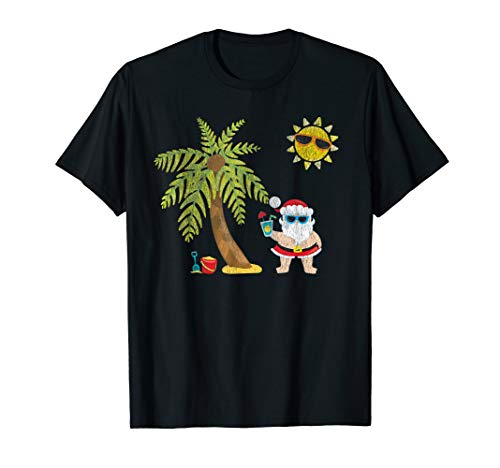Santa Beach Tropical Christmas in July T-Shirt Palm Trees