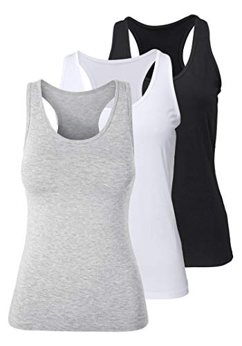 Camiseta de Tirantes de Algodón para Mujer, Pack de 3 Camiseta sin Mangas Camiseta de Fitness Deportiva de Tirantes para Mujer (Negro+Blanco+Gris, XXL)