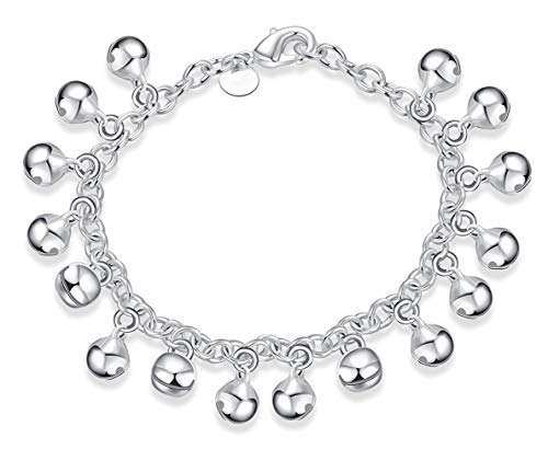 Cutesmile Fashion Jewelry 925 Sterling Silver Bells Chain Adjustable Bracelet/Anklet for Women Girls 925 Sterling Silver Bells