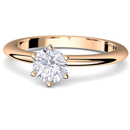 Verlobungsring Rosegold Ring Diamant 585 + inkl. Luxusetui + Diamant Ring Rosegold Diamantring Rosegold 0,45 Carat SI1/H (Rosegold 585) - Precious Amoonic Schmuck Größe AM195 RS585BRFA52