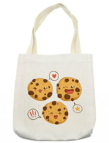 Lunarable Kawaii Tote Bag, Three Chocolate Chip Cookies with Different Expressions Japanese Inspirations, Cloth Linen Reusable Bag for Shopping Groceries Books Beach Travel & More, Cream